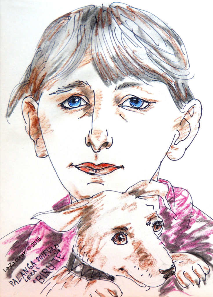 "Caricature of  of ""BIRUTE with white dog"", life drawing from live models; ink, pastel, paper"