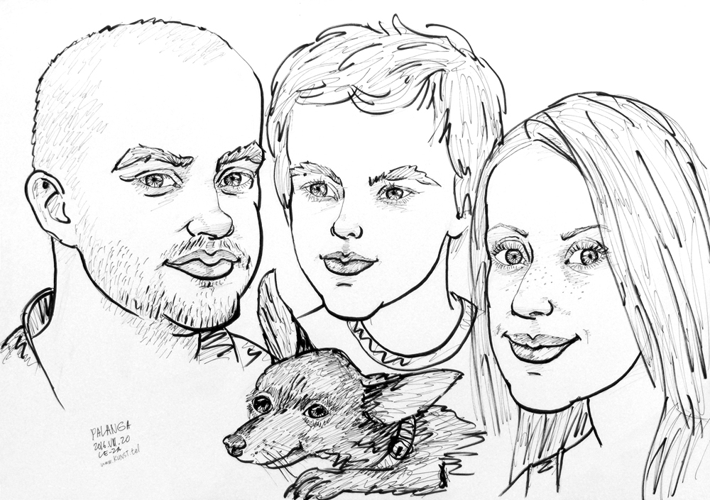 "Caricature  of  ""FAMILY with  DOG"", life drawing from live models; ink, paper"