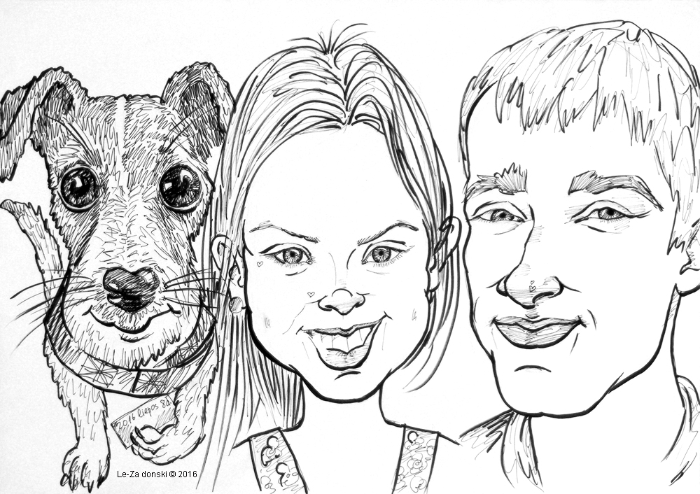 """Caricature  of  """"Dog with it's MASTERS"""", life drawing from live models; ink, paper"""