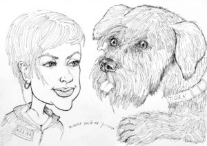 "Portrait-caricature of dog ""TIGRA"", life drawing from a live model; ink, paper."