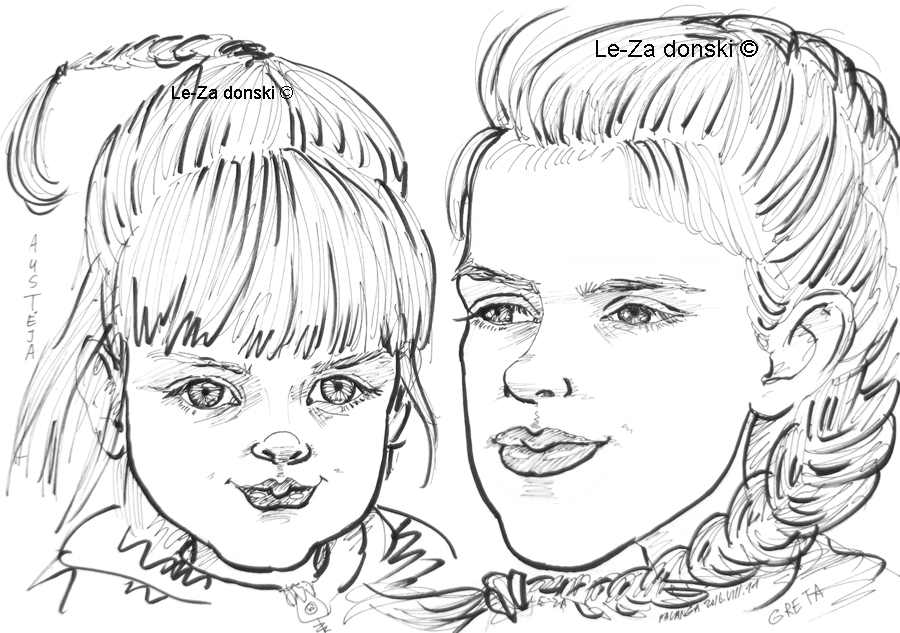 """Portrait-caricature of """"AUSTEJA & GRETA"""", life drawing from a live model; ink, paper"""