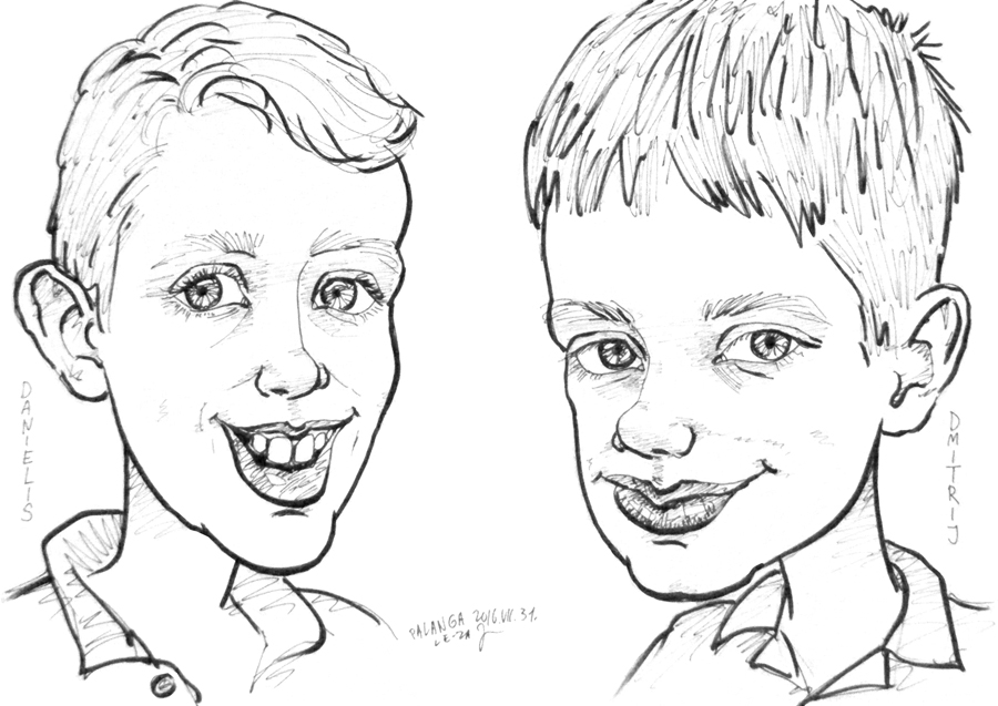 """Portrait-caricature of """"DANIELIS & DMITRIJ"""", life drawing from live models; ink, paper"""