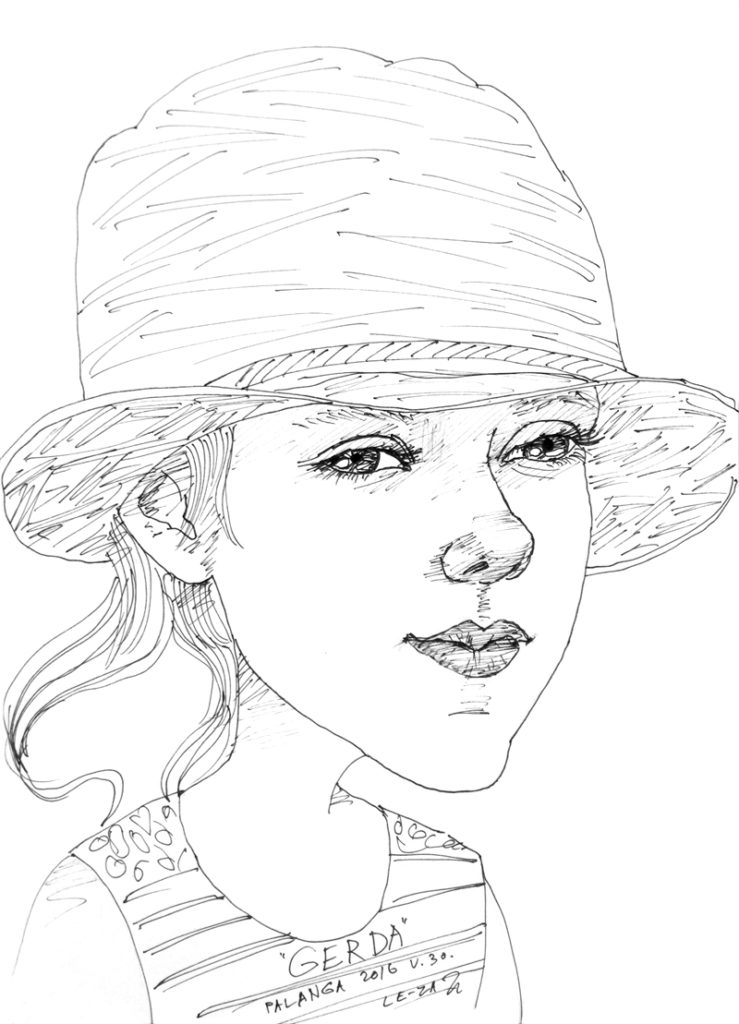"""Portrait-caricature of """"GERDA"""", life drawing from a live model"""