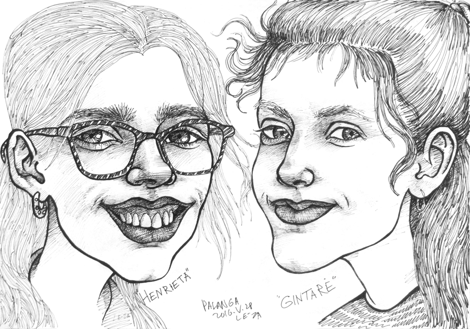 """Portrait-caricature of """"HENRIETA  & GINTARE"""", life drawing from live models; ink, paper"""