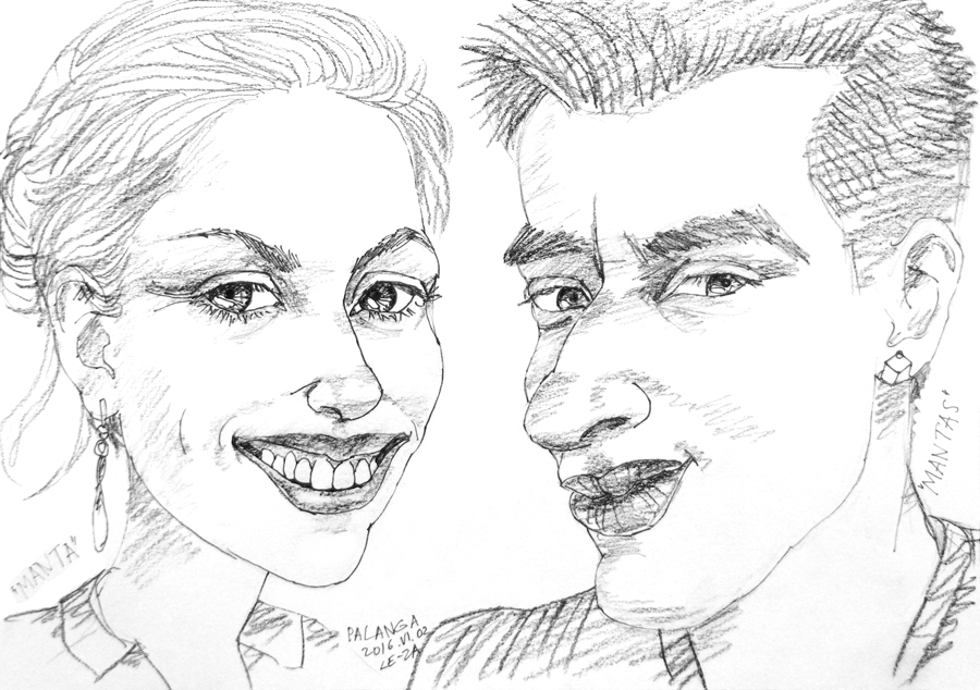 "Portrait-caricature of ""MANTA & MANTAS"", life drawing from live models"