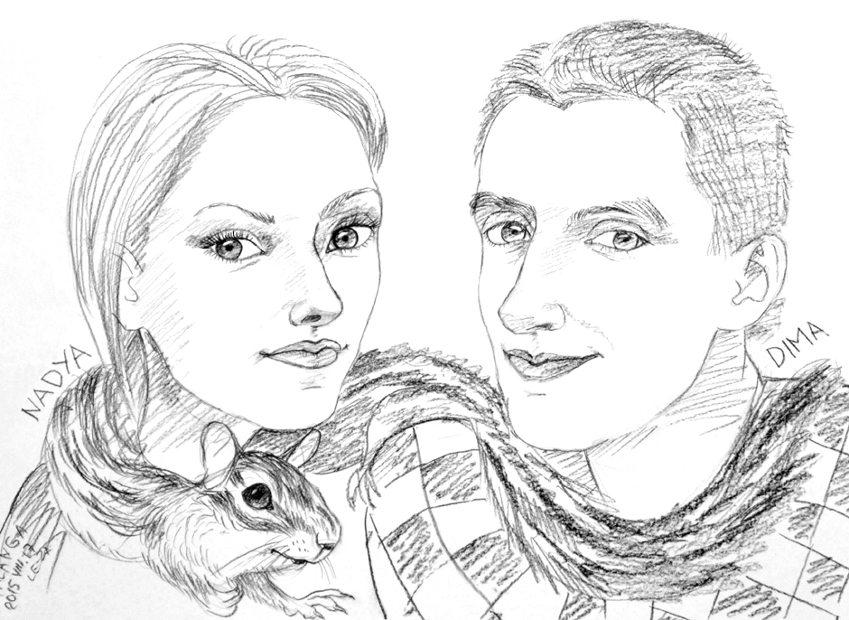 """Portrait-caricature of """"NADYA, DIMA and their pet chipmunk"""", life drawing from a live model; Derwent pencil, paper"""