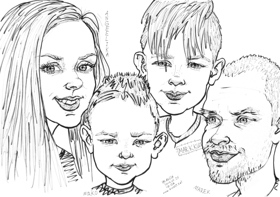 "Portrait-caricature of ""АNGELIKA, MIRKO, MARKKUS & MAREK"", life drawing from live models; ink, paper"