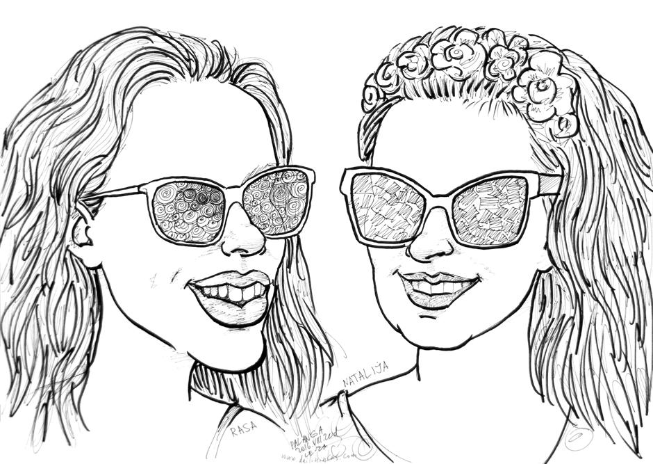 "Portrait-caricature of ""RASA & NATALIJA"", life drawing from live models"