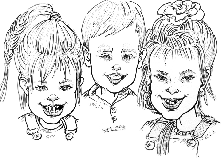 """Portrait-caricature of """"SKY, DYLAN & ELLA"""", life drawing from live models"""