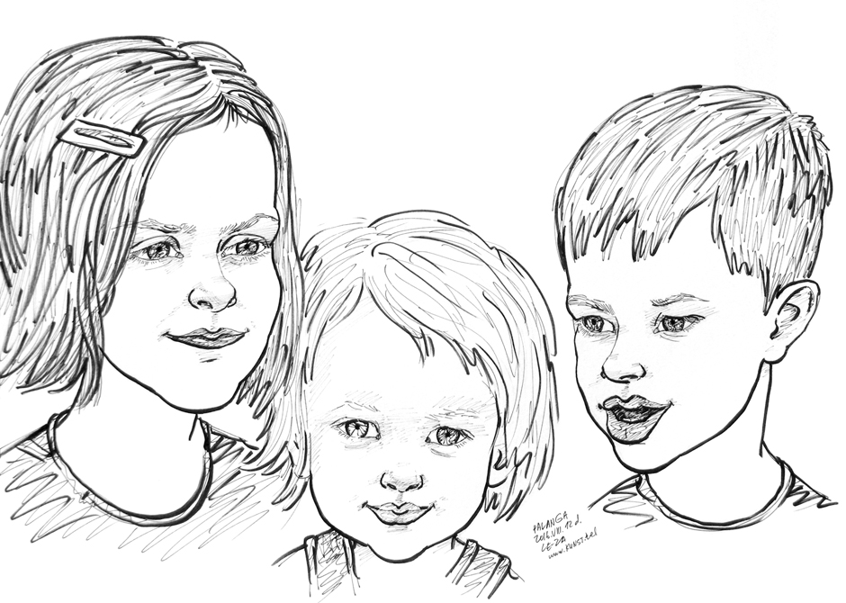"""Portrait-caricature of """"Three German Kids"""", life drawing from live models; ink, paper"""