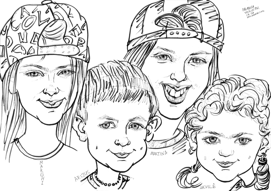 Portrait-caricature of four children, life drawing from live models